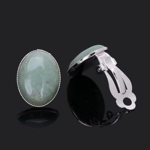 Nolunt (TM) Oval Rose Quartz Ohrclips f¨¹r Frauen Naturstein Achat Wei?-T¨¹rkis-Ohrringe der neuesten Frauen Ohrringe