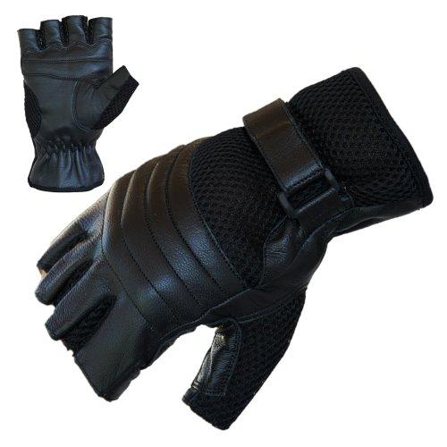Motorradhandschuhe PROANTI® Leder Mesh Chopper Handschuhe (Gr. L, schwarz)
