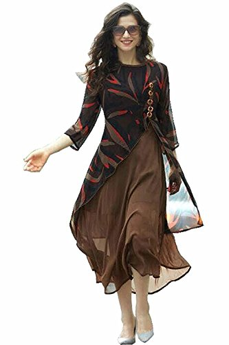 Reeva Trendz Brown Georgette Kurti in High Low Style omen cotton new collection party wear material below 999 latest design ladies 300 anarkali offer pack designer embroidered embroidery work womens georgette heavy today low price today readymade Cream Georgette Semi Stitched Salwar Suit  available at amazon for Rs.945