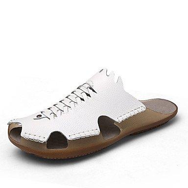 Slippers & amp da uomo;Pelle Nappa Estate Comfort Outdoor Heel Flat White Nero Marrone Walking sandali US7.5 / EU39 / UK6.5 / CN40