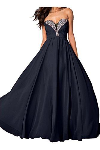 Toscana sposa donna senza spalline taglia a forma di cuore Chiffon Paillette sera moda lunga ball abiti da sera vestiti prom abiti blu navy