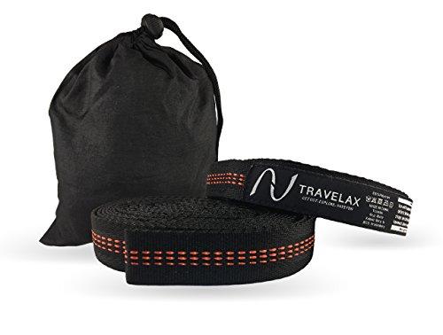 Hochwertige und verstellbare Hängemattenbefestigung von Travelax mit 11 Schlaufen zur einfachen und schnellen Aufhängung Ihrer Hängematte an Bäumen oder Pfählen