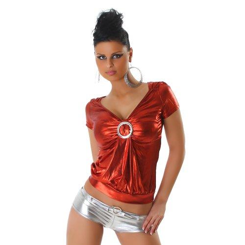Unbekannt Top Shirt T-Shirt Leder-Optik Wet-Look Einheitsgr. 32,34,36,38 - Rot