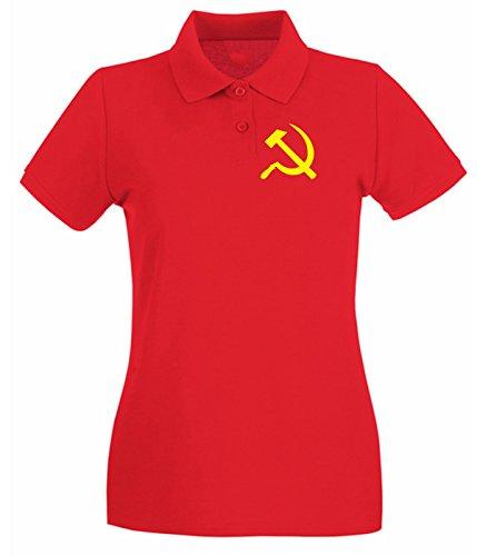 Cotton Island - Polo pour femme T0744 falce e martello comunismo politica Rouge