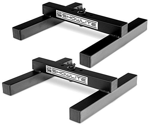 2er Set Showlite FLS-10 PAR Licht Bodenstative (Bodenstative zum Aufstellen von Scheinwerfern, Grundfläche 26 x 25,5 cm, 6 cm hoch, stabile Konstruktion, ineinander stapelbar) Schwarz -