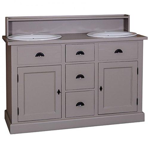 Casa Padrino Landhaus Stil Waschschrank Waschtisch inkl 2 Waschbecken mit Schubladen und...
