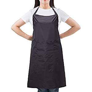 Lukovee Waterproof Apron with Front Pocket, Long Style Black Polyester Cooking Kitchen Apron for Chef Men Women