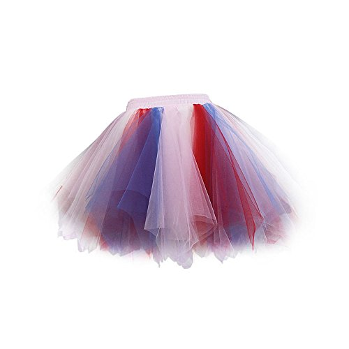 VKStar® Retro Damen Rock Ballett Einheitsgröße Vintage petticoat 50er Unterrock Reifrock Mischfarbig Unterröcke Mischfarbig D