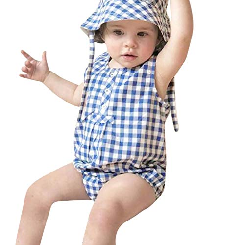 wuayi  Infant Baby Body, Kinder Mädchen Jungen Sleeveless Plaid Romper Overalls Strampler + Hut Outfits Kleidung 6 Monate - 3 Jahre - Blaue Plaid-strampler
