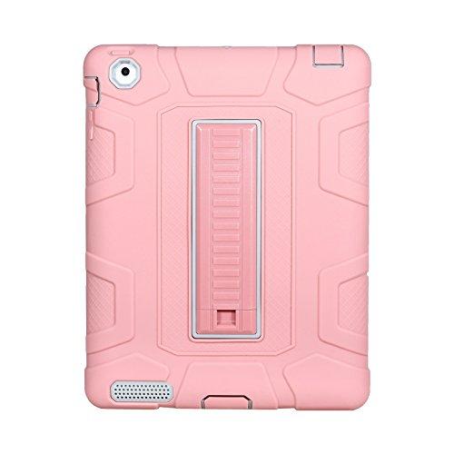 Yoomer Schutzhülle für iPad 2, iPad 3, iPad 4 Hülle, dreilagig, strapazierfähig, kompletter Körperschutz, stoßfest, stoßfest, mit Ständer für iPad 2/3 / 4. Generation, Rosegold+Grey