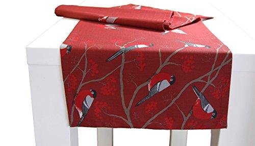 beties Beeren Vögel Tischläufer ca. 40x150 cm im Landhausstil reine Baumwolle (wählen sie die passenden Kissenhüllen extra hinzu) Farbe Marsala