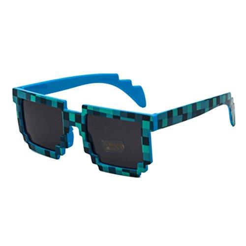 Bescita Life Brille Pixel Mosaik CPU Bit Niedrige Auflösung Pixelierte Sonnenbrille Spielzeug (blau) (Blaue Pixel Sonnenbrille)