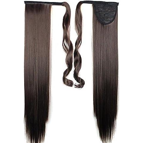 OOFAY JF® di alta qualità sintetico clip lunga 24 pollici in coda di cavallo pezzo capelli lisci - Tessuto Cavallo