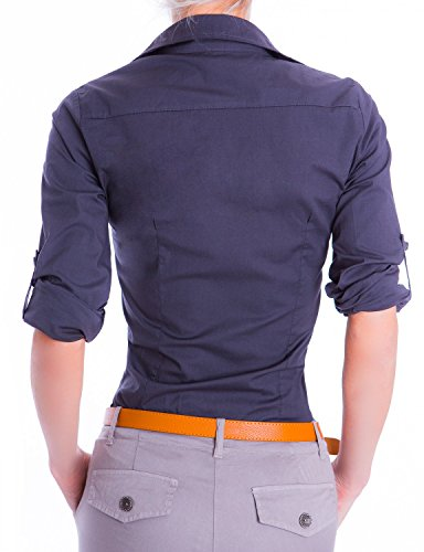 Danaest Damen Elegante Figurbetonte Langarm Bluse Hemd (510) Dunkelblau