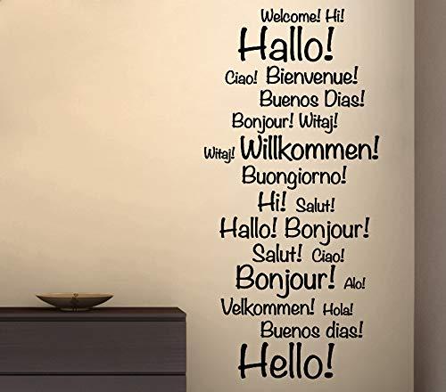 Grandora Wandtattoo Hallo Willkommen International I hellblau (BxH) 29 x 76 cm I Eingang Eingangsbereich Flur Sticker Aufkleber Wandaufkleber Wandsticker W5015 - Wandtattoo Hallo