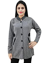 464799236a Matelco Womens Woollen Brown Buttoned Cardigan Coat with Pockets