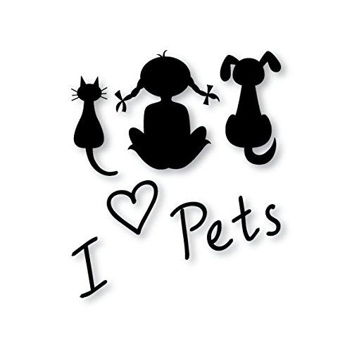 I Love Pets–de perro/gato para nevera adhesivo negro vinilo autoadhesivo VINYL- A4tamaño–arte decoración/decoración de la pared/cocina para