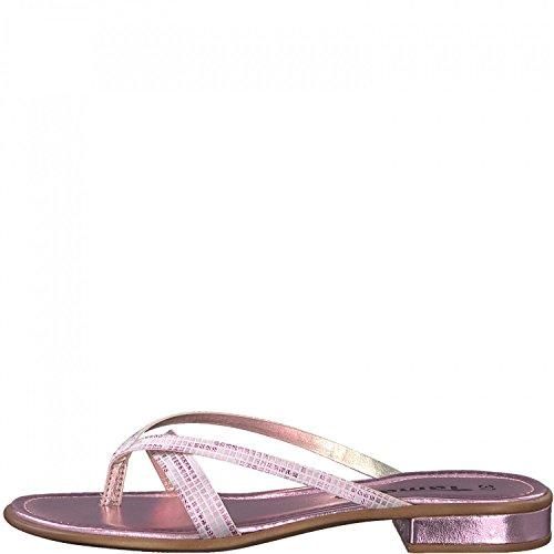 Tamaris Dianette Zehentrenner 1-27107-20 Metallic Pantoletten, Schuhgröße:41, Farbe:Rosa