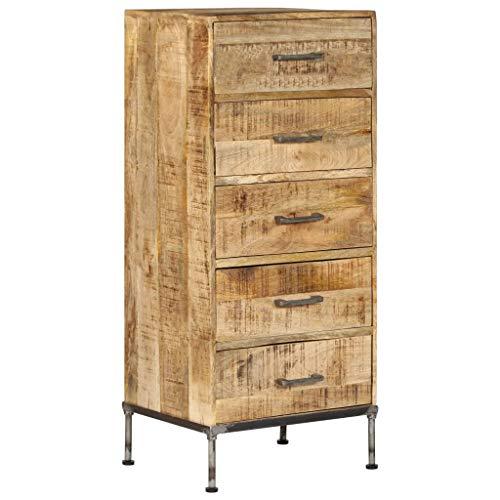 vidaXL Mango Massivholz Kommode mit 5 Schubladen Sideboard Schubladenschrank