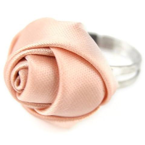 Satin Rose Ribbon Ring - Adjustable Band - Champagne Peach