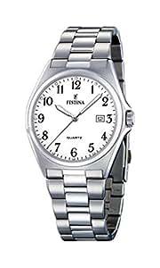 Festina - F16374-1 - Montre Homme - Quartz Analogique - Cadran Blanc - Bracelet Acier Argent