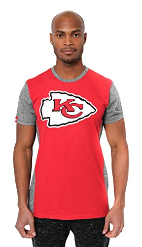 Icer Brands NFL Herren T-Shirt Raglan Block Short Sleeve Tee Shirt, Team Logo Farbe, Herren, JTM2090A-KC-Medium, rot, Medium -