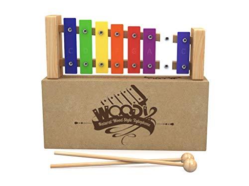 AGREATLIFE AGL Großes Holz-Xylophon mit Liederbuch *gestimmt* - Bestes Glockenspiel für Kinder - Liebevoll Verarbeitet - 2X Holzschlägel + Edle Verschenkbox - Notenbuch mit 30 Liedern!