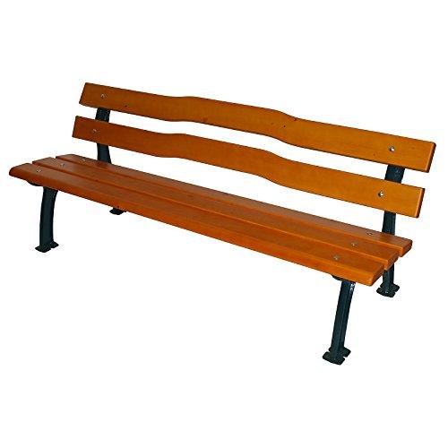 Parkbank mit Gussgestell - Sitz- und Rückenfläche Fichtenholz - geschwungen - Bank aus Holz Metall...