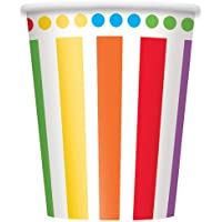 9oz Rainbow Party Paper Cups, Pack of 8