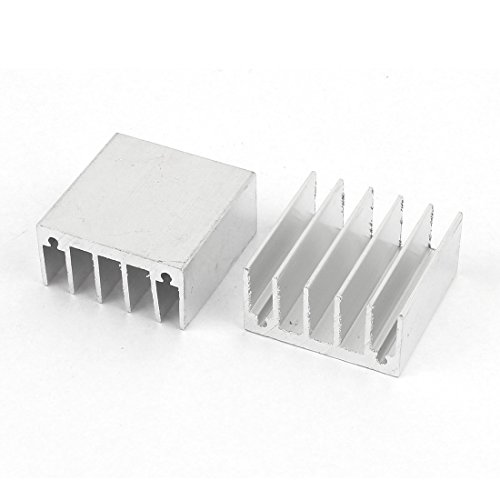 2PCS Silber Ton Aluminium Kühler Kühler Kühlkörper 30mm x 30mm x 1,5