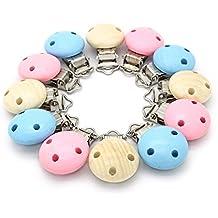 RUBY 12 Pinzas de Madera de Colores Clips Pinzas de Chupete para Niños Bebés