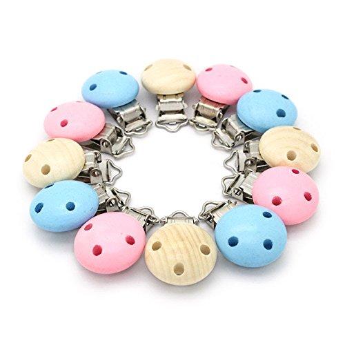 RUBY-12pcs Multicolor Holz Schnuller Clips Baby Hosenträger Clip, Dummy Nippel Halter sicher für Kinderkrankheiten