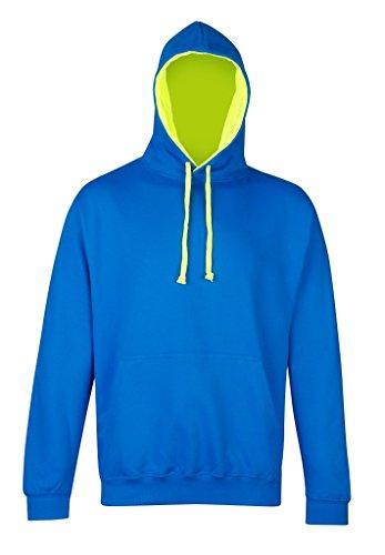 AWDis Hoods -  Felpa con cappuccio  - Uomo Sapphire Blue/ Electric Yellow.