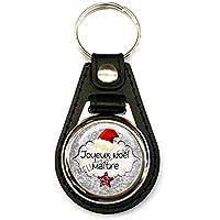 Porte clés homme, simili cuir noir, joyeux noël maître, Christmas, fêtes de fin d'années, cadeaux, texte personnalisable, plaisir d'offrir