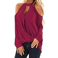 MK988 Womens Criss Cold Shoulder Casual Plus Size Loose Plain Chiffon Blouse Shirt Top Red XXXXXL