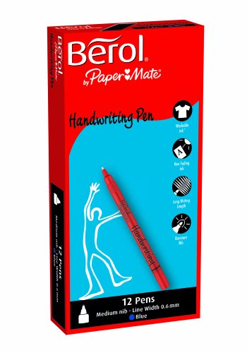berol-handwriting-pen-with-06-mm-medium-nib-light-blue-box-of-12