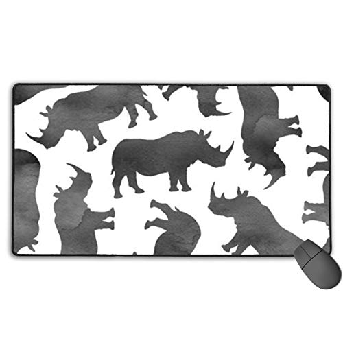 Watercolor Rhinos Custom Mouse Pad,Large Gaming Mouse Pad,Extended Mousepad with Durable Stitched Edges,Computer Keyboard, PC and Laptop