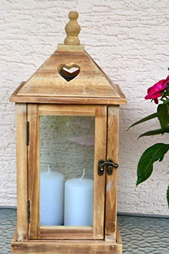 Maison en France Laterne Holz+ Glas stabil - Höhe 40 cm,braun- im modernen Landhaus-naturbelassen, mit Holzdach Herzen-, Breite 19 cm, Tiefe 19 cm, braun-