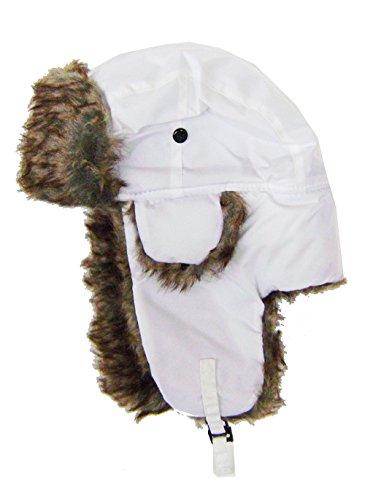 modestone-warm-trapper-bomber-hat-faux-fur-trim-o-s-white