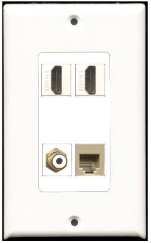 RiteAV-2Port HDMI 1Port RCA weiß 1port Telefonkabel RJ11RJ12beige Wall Plate Decora -