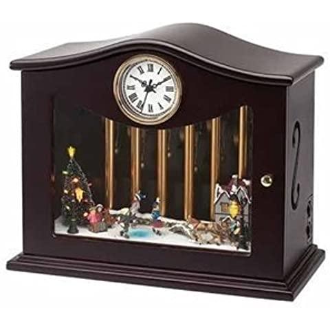 Mr. Christmas Animated Musical Chimes Ice Skater Table Top Clock by Mr. Christmas