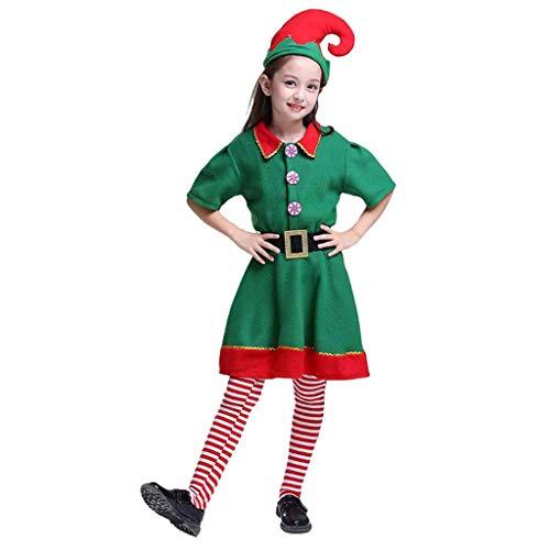 DONGBALA Kostüme Für Kinder Elf, Weihnachten Cosplay Festliche Kleider Weihnachtsabend Lustige Cosplay Partei-Grün Und Rot Junge Und Grils Erwachsener,Girl,130cm (Girl's Jester Kostüm)