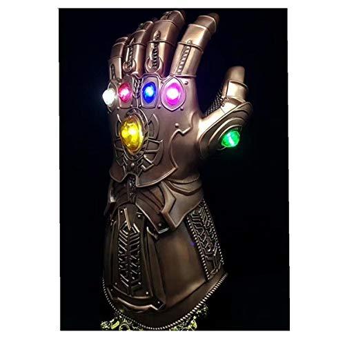 FUGUI Guante Thanos PVC 6 LED Brillante Gemas Thanos Glove Cosplay de Halloween (Thanos Guante)