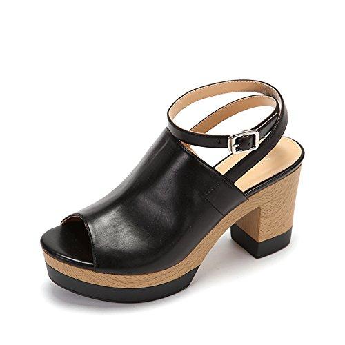 Mesdames Plate-forme De Confort Imperméable Chaussures De Banlieue Rugueux, Sandales Boucle De Poisson B