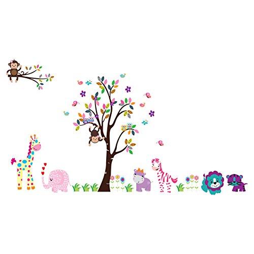 Wandtattoo Wandaufkleber Wandsticker Kinderzimmer mit vielen Tieren wie Affe, Giraffe, Elefant,...