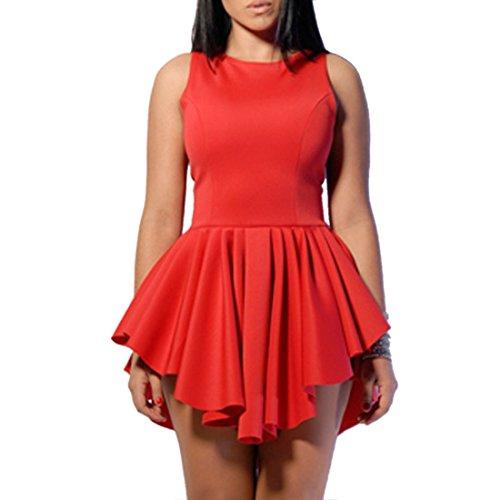 Mini Abito Di Colore Solido Clubwear Aderente Tunica Bordo Irregolare O Collo Senza Maniche Rosso