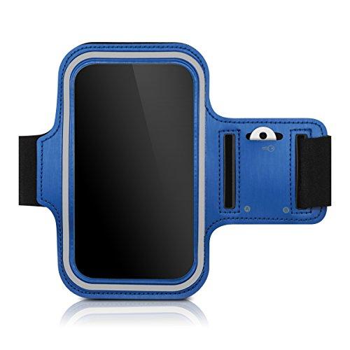 kwmobile Sport Armband für Smartphones - Jogging Lauf Sporttasche Fitnessband mit Schlüsselfach im Sportarmband in Blau - z.B. geeignet für Samsung, Apple, Wiko