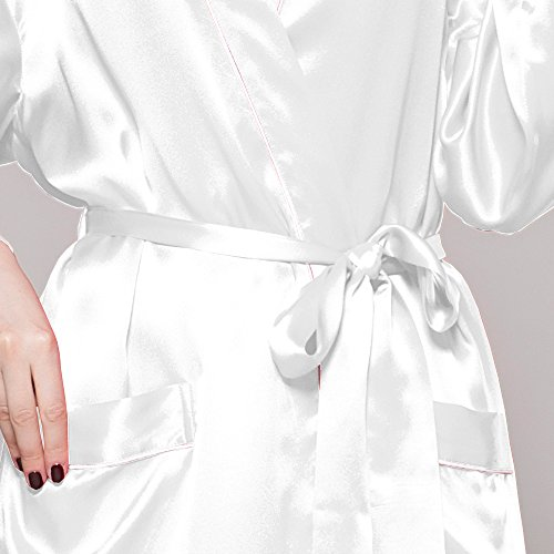 Lilysilk Edel Seide Morgenmantel Bademantel Nachtkleider Damen Lang 22 Momme Weiß