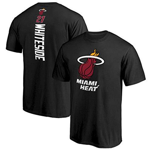 Yujingc T-Shirt Estiva da Uomo Miami Heat T-Shirt Casual da Uomo in Cotone Pullover da Allenamento a Maniche Corte T-Shirt da Basket Mezza Manica,Black,S