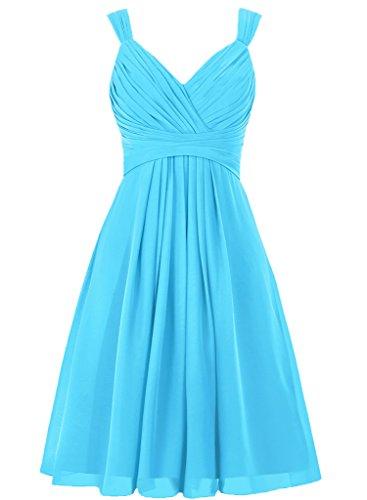 HWAN Women's V Neck Chiffon Straps Bridesmaid Dress Short Prom Gown